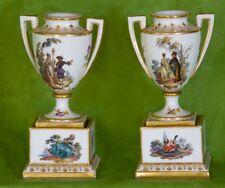 Royal Vienna (Bindenschild) Hand-Painted Porcelain Pair of Vases Urns 1749-1770