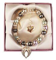 Sister diamante bling bead pearl charm bracelet birthday 80 CHARMS TO CHOOSE