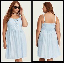 NWT Torrid Plus Size 4 4X Blue Floral Print Lace Up Challis Tank Dress (30-28)