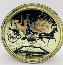 """Old Tin Can Victorian Lady Horse & Buggy Round 7.1/4"""" Black Gold Red Container"""