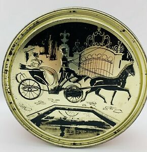 "Old Tin Can Victorian Lady Horse & Buggy Round 7.1/4"" Black Gold Red Container"