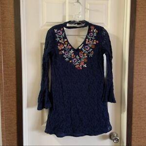 Xhilaration Women's Navy Blue Choker Neck Lace Dress Small