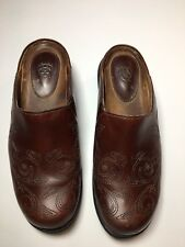 ARIAT Women's Size 7B Leather Embroidered Stitched Shoes Brown Mules Clogs Wedge