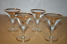 4 Crystal Champagne or Cocktail Glasses with Gold Trim