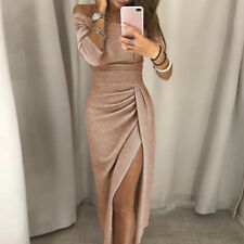 Sexy Women's Off Shoulder Evening Party Long Pencil Split Ladies Midi Dress