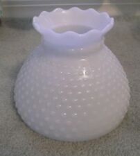 Vintage Milk Glass Hobnail THICK Ruffle Top Hurricane Lamp Shade EXCELLENT