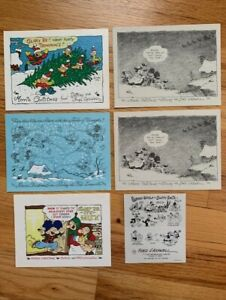 BARNEY GOOGLE+SNUFFY SMITH LOT OF 5 VINTAGE X-MAS CARDS+FRED LASSWELL BUS. CARD