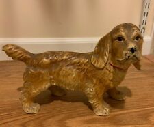 Antique Large Hubley Cocker Spaniel Dog Cast Iron Door Stopper from 1930's