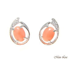 925 Sterling Silver Rhodium CZ Genuine Natural 5x7mm Oval Pink Coral Earrings