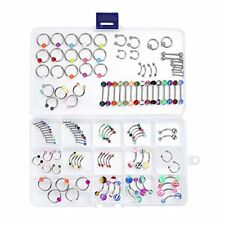 Piercing Kit Mix Lot in a Box Belly Ring Labret Tongue Eyebrow Tragus 14G