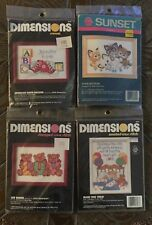 Lot Of 4 Craft Kits Dimensions Sunset Cross Stitch Crewel Kittens Bears Sneakers