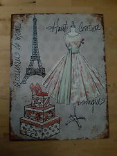 RETRO METAL ADVERTIZING WALL PLAQUE HAUTE COUTURE PARIS SIGN SHABBY CHIC FRENCH