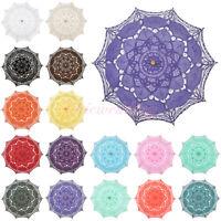 16 Colors Cotton Battenburg Lace Parasol Umbrella for Wedding Party Decoration