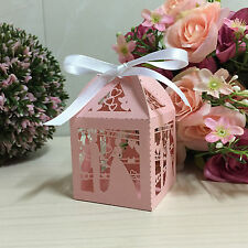 50pcs Pink Hollow Love Bridegroom and bride Candy Boxes W/Ribbon Wedding Favors