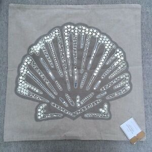 NEW Pottery Barn BAY SEQUIN SHELL PILLOW COVER  20 x 20 natural