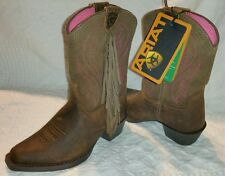 Ariat Girls Western Boots Fancy Fringe Mustang Molly~Children's Size 8~Snip Toe