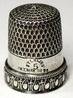 "Antique Simons Bros. Child's Sterling Silver Thimble  ""Egg & Dart""  ""PRISCILLA"""