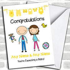 Brunette Mum To Be Congratulations Expecting A Baby Pregnancy Customised Card