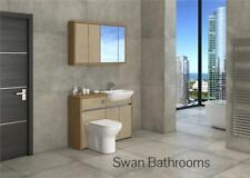 OAK / CAPPUCCINO GLOSS BATHROOM FITTED FURNITURE WITH WALL UNITS 1200MM