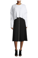 NWT $695 Alexander Wang Ring-Detail A-Line Midi Skirt, Black Size 2