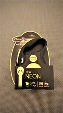 Flexi Neon Reflect Black & Neon Yellow Retractable Tape Dog Leash Med up to 55lb