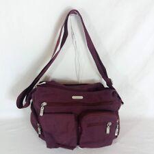 Baggallini Plum Crossbody Purse Bag w Orange Interior Nylon Multi Pocket Travel