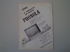 advertising Pubblicità 1961 TELEVISORE PHONOLA