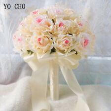 Bride Wedding Bouquet Bunch Flowers Bridesmaid Holding Artificial Silk Rose Prom