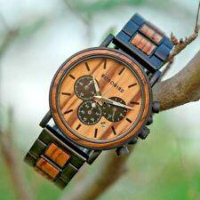 BOBO BIRD Wooden Watch Men Stylish Wood Timepiece illuminated hands