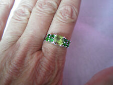 Peridot & Chrome Diopside ring, size N/O, 2.26 carats, in 2.55 grams of 925 SS