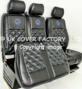READY IN STOCK!! SEAT COVERS TRANSPORTER T5 T6  BLUE BENTLEY STITCH PREMIUM