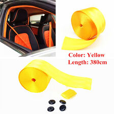 3.8m x 4.8cm Yellow Vehicle Car 3 Point Retractable Adjustable Safty Seat Belt