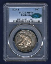 U.S. 1925-S CALIFORNIA HALF-DOLLAR SILVER UNCIRCULATED COIN CERTIFIED PCGS-MS64!
