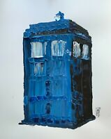 Original TARDIS Blue Police Call Box Dr. Who Abstract Pop Wall Art Painting