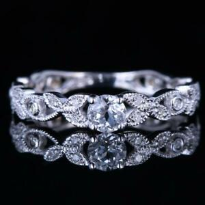 4mm Round Genuine White Topaz Engagement Diamonds Lady Ring Gift 10k White Gold