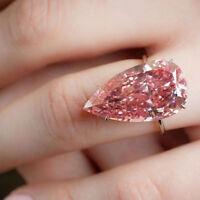 925 Silver Pink Big Gemstone Waterdrop Ring Women Wedding Jewelry Gift Size 6-10