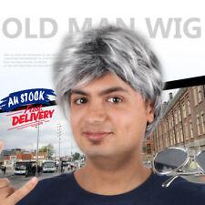 Silver Gray Man Short Wig Hairnet Old Men's Full Cosplay Fashion Wigs Elder Hair
