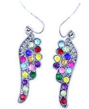 Silvery orecchini di angelo nero con cristalli colorati
