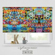 21- Colourful Graffiti Printed Roller Blind - blackout FREE UK delivery