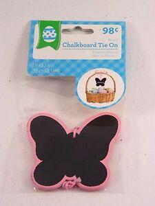 Chalkboard Tie On Pink & Black Butterfly 3 In Easter Basket Decoration Spring