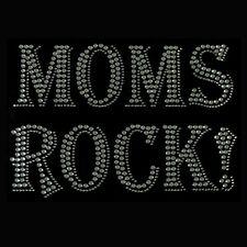 MOMS ROCK Clear Rhinestone Iron on Hotfix