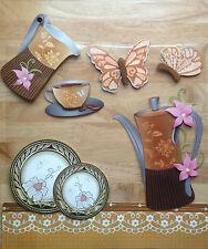 TOP QUALITY 3D Brown Afternoon Tea PVC WallSticker Art Decals Coffeeshop Kitchen