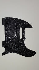 "Leather pick guard Custom Hand Tooled Leather Telecaster  ""Floral Riffs"" Black"