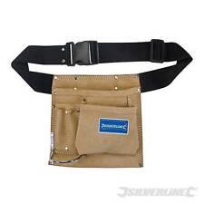 Silverline Gürteltasche Nageltasche Werkzeugtasche Werkzeuggürtel Leder 5 Fächer