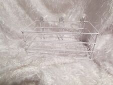"white wire wall shelf w/3 suction cups 8.75 x 5 1/8 x 3.5"" tall (outside)"