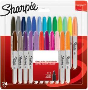 Sharpie Permanent Marker Stifte mit feiner Spitze 24 ver. Farben Permanentmarker