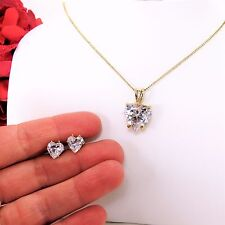 Yellow Gold Plated Cubic Zircon Heart Pendant with Stud earrings Set, Large