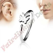 316L Surgical Steel Silver Ion Plated Nose & Ear Cartilage Ring with Butterfly