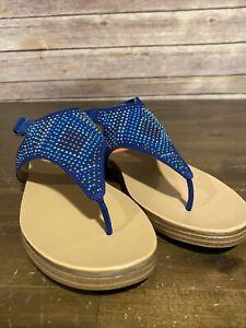 Naturalizer Sandals Kelsie Oceanic Blue Thong Slingback Flat Size 7 W (Wide)