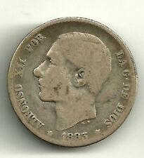 ALFONSO XII. 1 PESETA DE 1883 EN PLATA (RC) MADRID MS-M